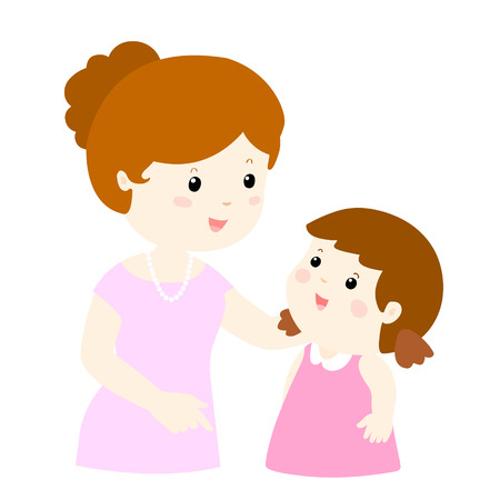 Illustration pour mom talk to her daughter gently vector illustration - image libre de droit