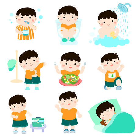 Illustration for Cute black hair boy have healthy hygiene take a bath,using the toilet,eat healthy food, dress up,wound healing,sleep and exercise vector illustration - Royalty Free Image