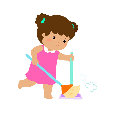 Illustration pour Cute girl sweeping the dust vector illustration. - image libre de droit