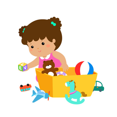 Illustration pour Illustration of smiling girl storing her toys in the box - image libre de droit