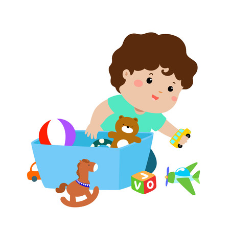 Illustration pour Illustration of smiling kid boy storing his toys in the box. - image libre de droit