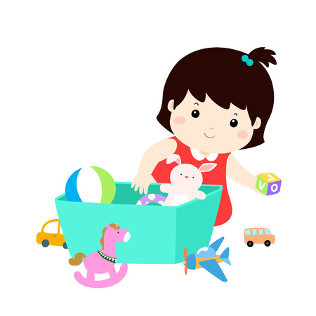 Illustration pour Illustration of smiling kid girl storing his toys in the box. - image libre de droit