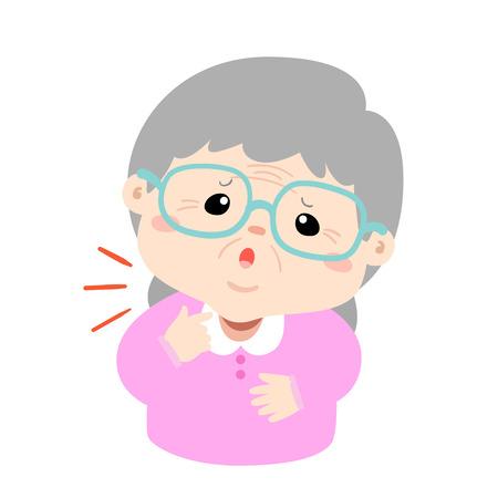 Illustration pour Grandmother sore throat because flu disease vector. - image libre de droit