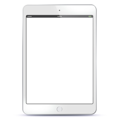 Ilustración de White Tablet PC with blank screen Vector illustration. - Imagen libre de derechos