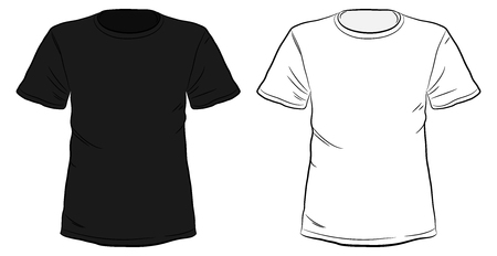 Illustrazione per Black and White Hand Drawn T-shirts vector illustration isolated on white background. - Immagini Royalty Free