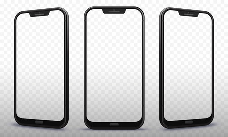 Illustration pour Smartphone From Different Angles with Transparent Screens - image libre de droit