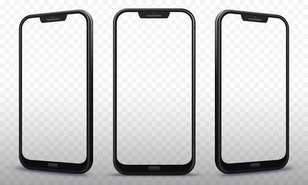 Ilustración de Smartphone From Different Angles with Transparent Screens - Imagen libre de derechos