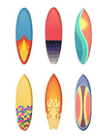 Surfboards set of different retro colors. Vector sport illustration isolate on white background