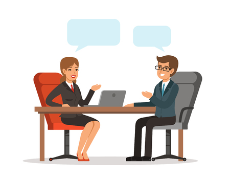 Ilustración de Business conversation. Man and woman at the table. Vector concept picture in cartoon style - Imagen libre de derechos