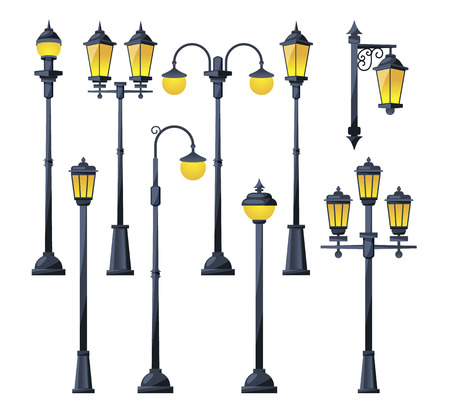 Illustration pour Vector illustration of old city lamps in cartoon style - image libre de droit