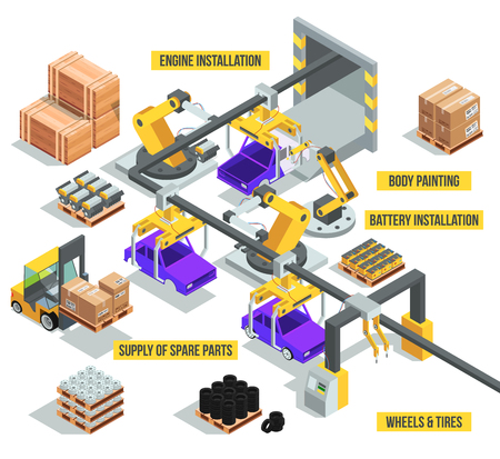 Illustration pour Car industry. Factory with auto production phases. Vector isometric illustrations - image libre de droit