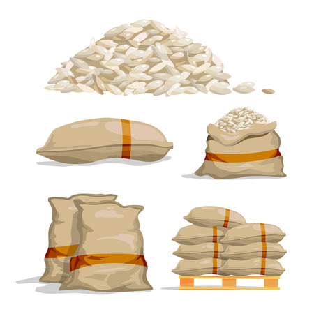 Illustration for Different sacks of white rice. Food storage vector illustrations - Royalty Free Image