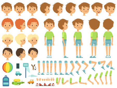 Ilustración de Funny cartoon boy creation mascot kit with children toys and different body parts. Character cute boy constructor, body part hand and leg. Vector illustration - Imagen libre de derechos