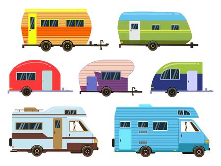 Ilustración de Campers cars set. Different resort trailers. Vector pictures in flat style - Imagen libre de derechos