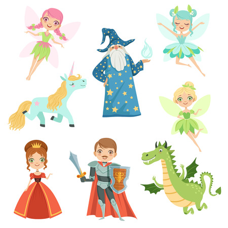Illustration for Fairytale characters set in different costumes. Princess, funny unicorn. Wizard, dragon and knight. Vector illustrations in cartoon style - Royalty Free Image