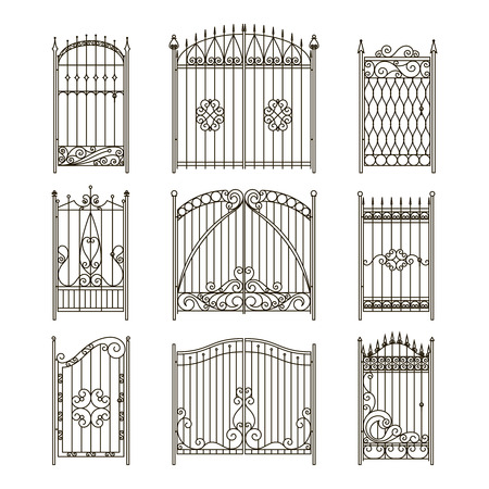 Illustration for Iron gates with decorative elements. Vector monochrome pictures set. Fence and gate wrought silhouette, elegance collection fence border illustration - Royalty Free Image