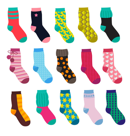Ilustración de Set of funny socks with different patterns. - Imagen libre de derechos