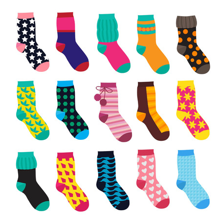 Ilustración de Socks in cartoon style. Elements of kids clothes. Vector illustrations isolate Kids sock warm with colored pattern - Imagen libre de derechos