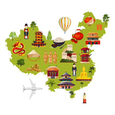 Illustration pour Chinese travel illustration with different cultural objects. Vector map in cartoon style - image libre de droit