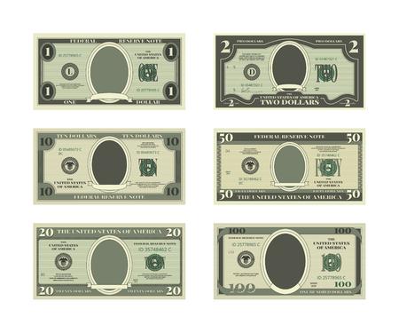 Illustration pour Template of fake money. Vector pictures of dollars - image libre de droit
