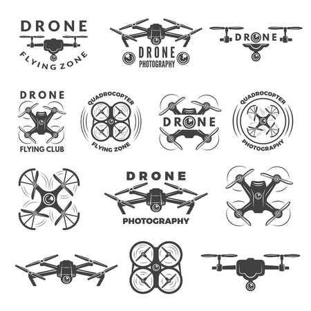 Illustration pour Set labels with different illustrations of drones - image libre de droit