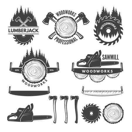 Illustration pour Monochrome labels set with lumberjack and pictures for wood industry. - image libre de droit
