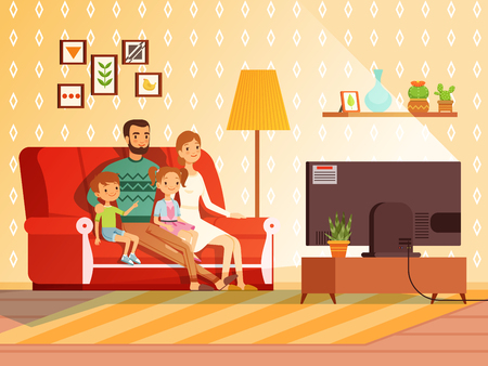 Illustration pour Lifestyle of modern family. Mother, father and children watching tv - image libre de droit