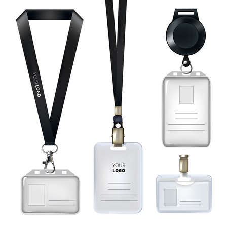 Ilustración de Realistic template of identification card or personal badges - Imagen libre de derechos