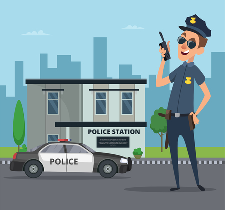 Illustration pour Building of police station and cartoon character of policeman. Policeman officer cartoon cop, vector illustration - image libre de droit