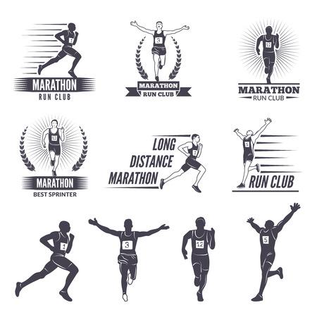 Ilustración de Logos or labels for runners. Marathon graphics - Imagen libre de derechos