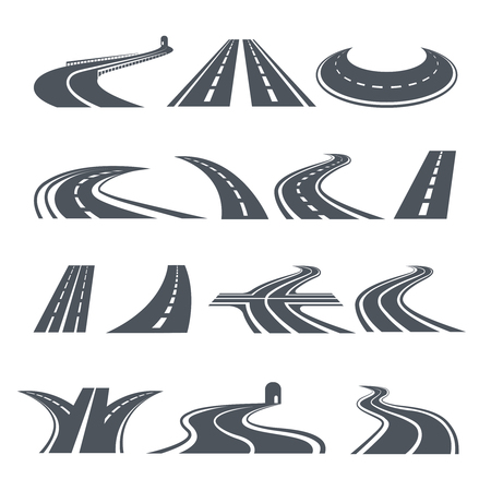 Illustration pour Stylized symbols of road and highway. Pictures for icon design. - image libre de droit