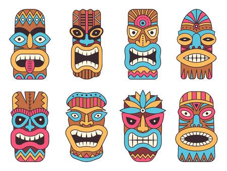 Illustration pour Illustrations of hawaiian tiki god. Tribal totem - image libre de droit