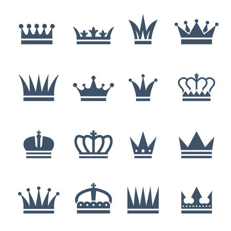 Illustration for Set of monochrome crowns. Illustrations for luxury badges - Royalty Free Image