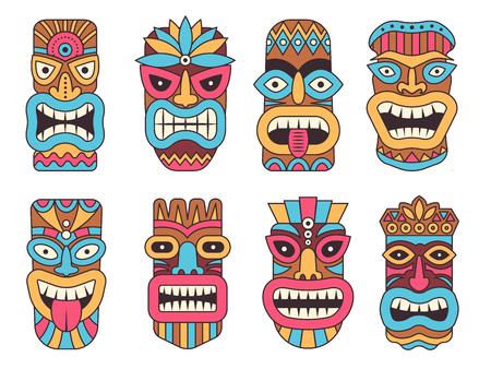 Ilustración de Hawaiian mask of tiki god. Wooden african sculpture - Imagen libre de derechos