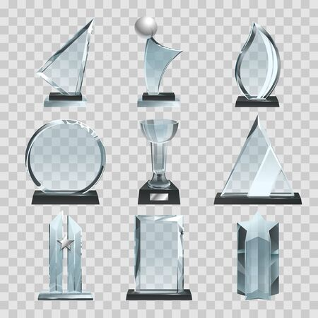 Ilustración de Glossy transparent trophies, awards and winner cups. Vector illustrations - Imagen libre de derechos