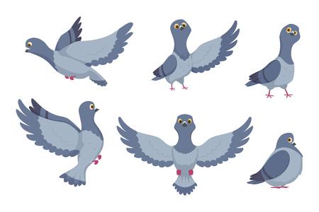 Ilustración de Vector collection of cartoon pigeons. Illustration of bird animal, dove with wings in flight - Imagen libre de derechos