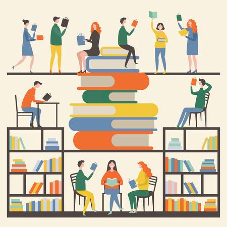 Ilustración de Concept picture with mascots male and female which reading books in library - Imagen libre de derechos