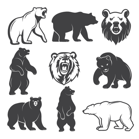 Ilustración de Monochrome illustrations of stylized bears. Pictures set for logos or badges design Vector illustration. - Imagen libre de derechos