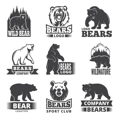Illustration pour Sport labels with illustrations of animals. Pictures of bears for logo design Vector illustration. - image libre de droit