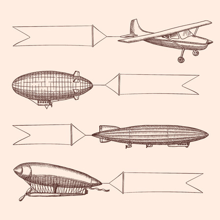 Illustration pour Vector set of steampunk hand drawn vintage dirigibles and air baloons with hanging wide ribbons for text. Airplane transport with banner, aircraft dirigible or zeppelin illustration - image libre de droit
