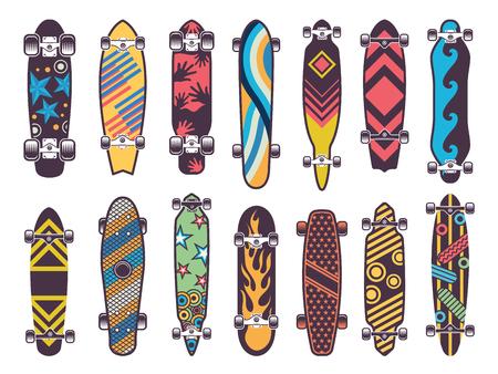 Various coloured patterns on skateboards. Collection of skateboard, illustration of skateboarding urban equipment.