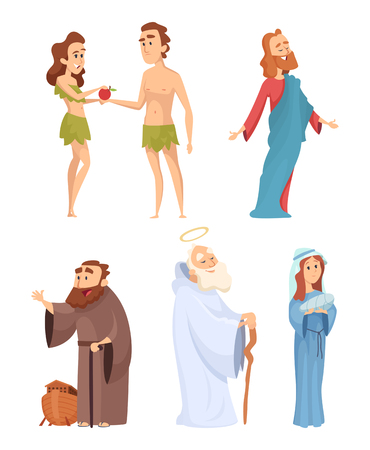 Illustration pour Historical characters of bible. Vector mascots in various poses - image libre de droit