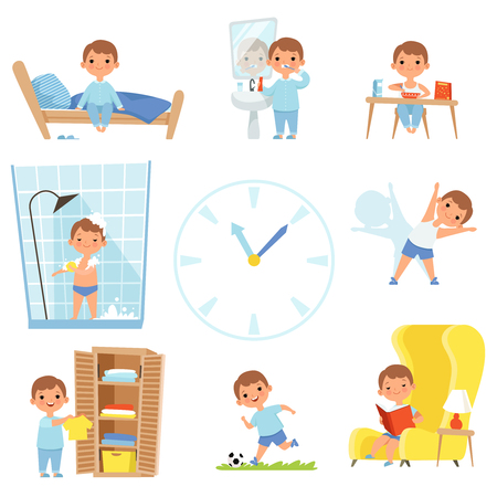 Photo pour Daily routine. Kids making various cases in all day. Vector child daily sleep, eat and activity illustration - image libre de droit
