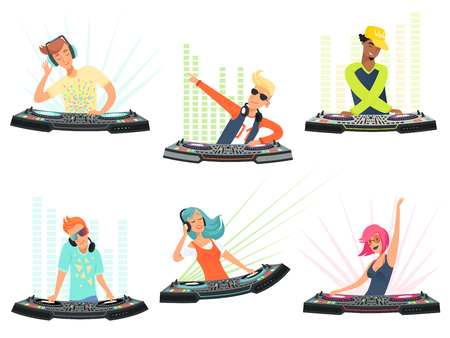 Illustration pour DJ characters. Vector illustrations of music cartoon mascots. Dj with headphone on club party - image libre de droit