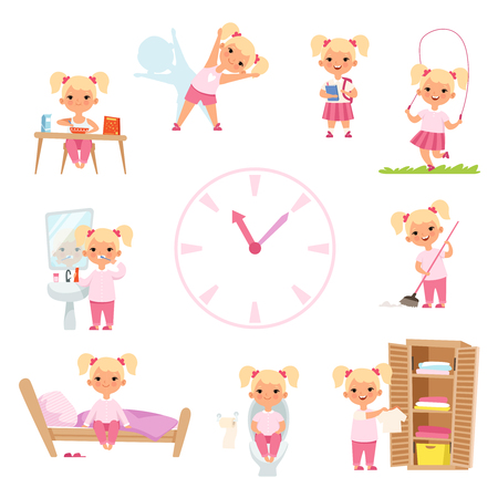 Illustration pour Childrens daily routine. Male and female kids in action poses. Vector girl happy daily activity, morning eat and reading in school illustration - image libre de droit