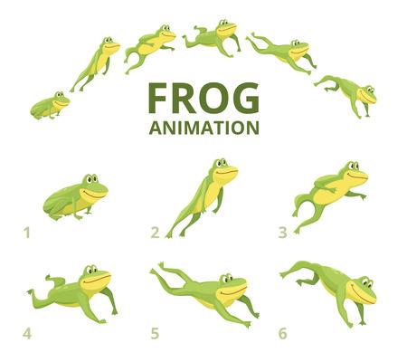 Illustration for Frog jumping animation. Various keyframes for green animal. Vector frog animation, jump amphibian animated illustration - Royalty Free Image