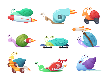 Ilustración de Snails cartoon characters. Slow sea slug or caracoles vector illustrations. Speed and fast snail character, slime insect collection - Imagen libre de derechos