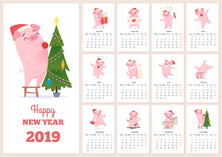 Illustration for 2019 calendar template. New year celebration pig character at design calendar planner pages vector layout diary months. Illustration of calendar to new year with pink pig - Royalty Free Image