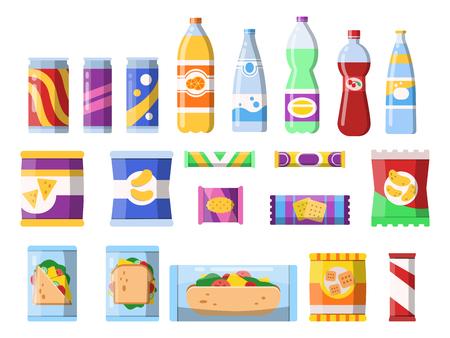 Ilustración de Snacks and drinks. Merchandising products fast food plastic containers water soda biscuits crisps bar chocolate vector flat pictures. Illustration of food sandwich, bottle beverage and snack - Imagen libre de derechos