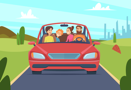 Illustration pour Happy family in car. People father mother kids travellers in automobile vector front view. Illustration of car with happy family, journey and drive trip - image libre de droit